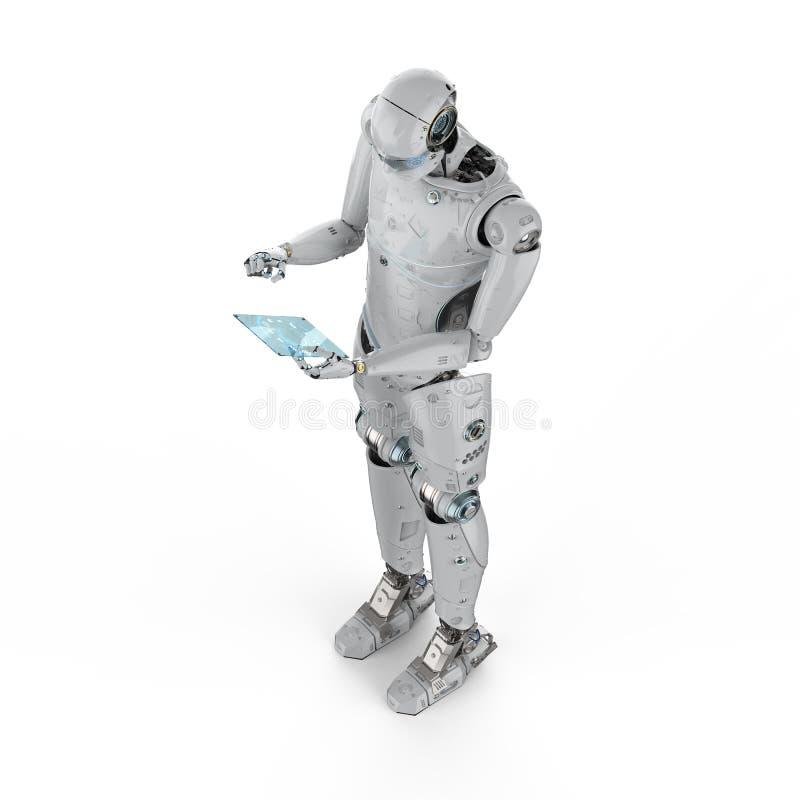 Robot med den glass minnestavlan royaltyfri illustrationer