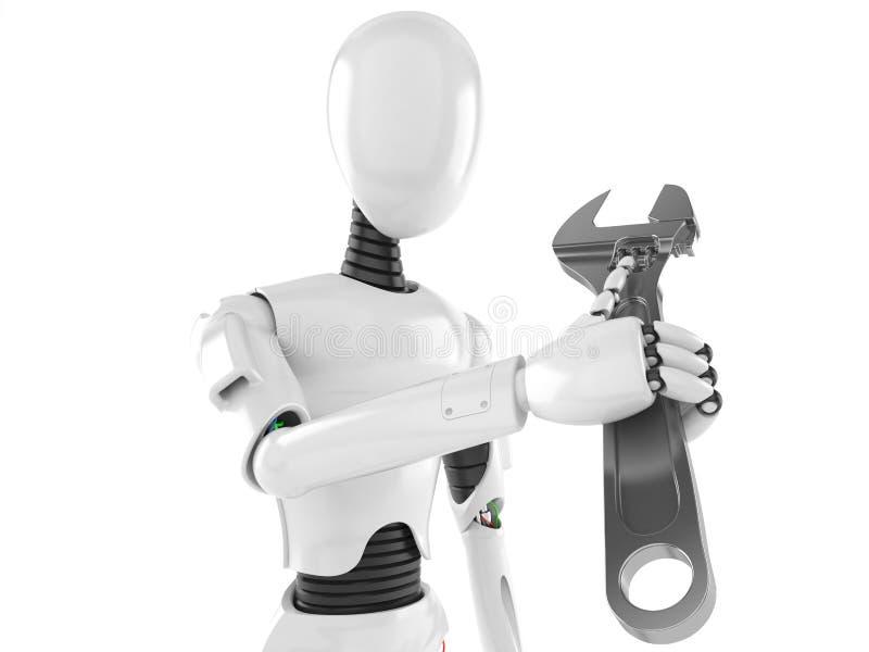 Robot med den justerbara skiftnyckeln royaltyfri illustrationer