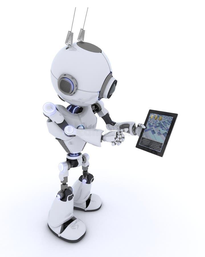 Robot med den mobila minnestavlaapparaten stock illustrationer
