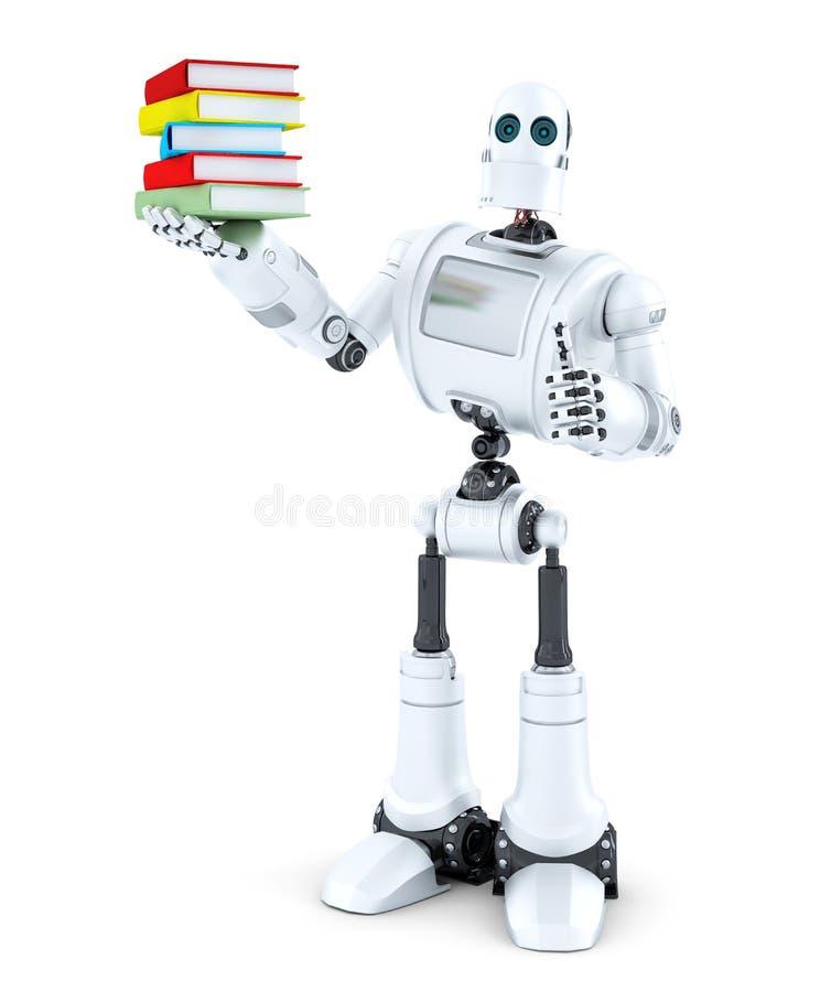 Robot med en hög av böcker isolerat Innehåller den snabba banan vektor illustrationer
