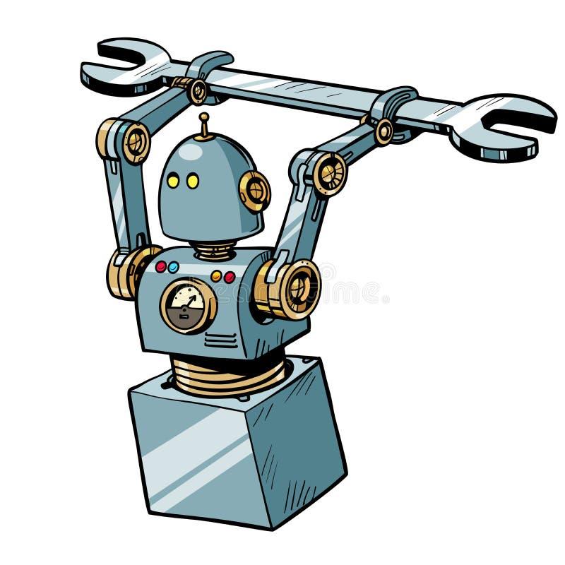 Robot med en skiftnyckel stock illustrationer