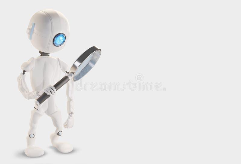 Robot med förstoringsglaset 3d-illustration stock illustrationer