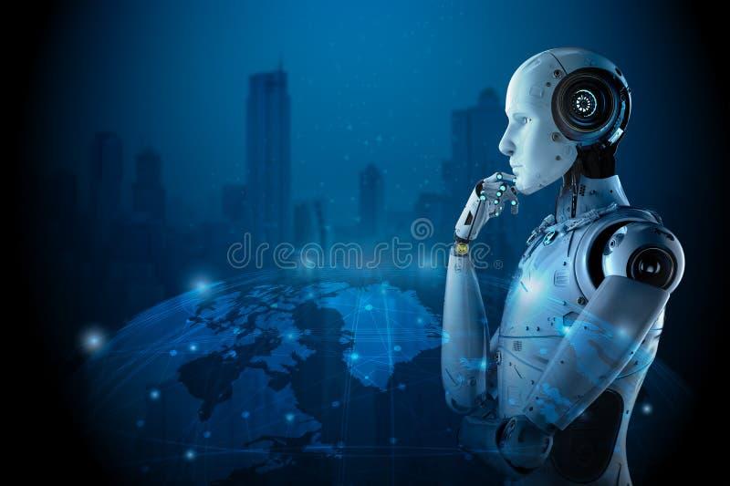 Robot med global anslutning stock illustrationer