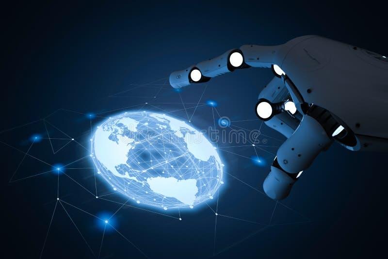 Robot med global anslutning vektor illustrationer
