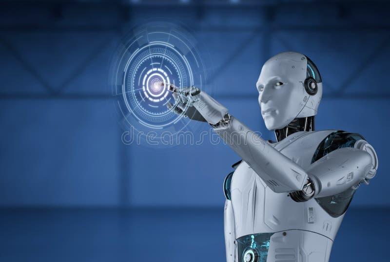 Robot med grafisk skärm royaltyfri illustrationer