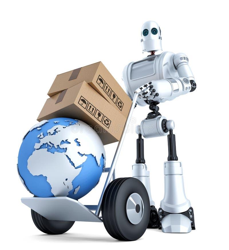 Robot med handlastbilen och bunten av askar Innehåller den snabba banan royaltyfri illustrationer