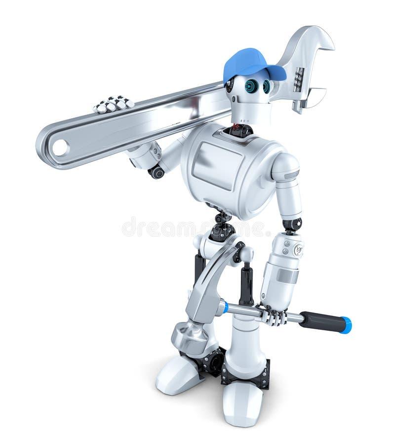 Robot med hjälpmedel isolerat Innehåller den snabba banan stock illustrationer