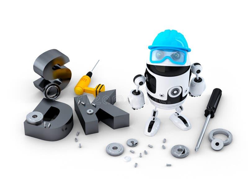 Robot med hjälpmedel och SDK tecknet. Teknologibegrepp vektor illustrationer
