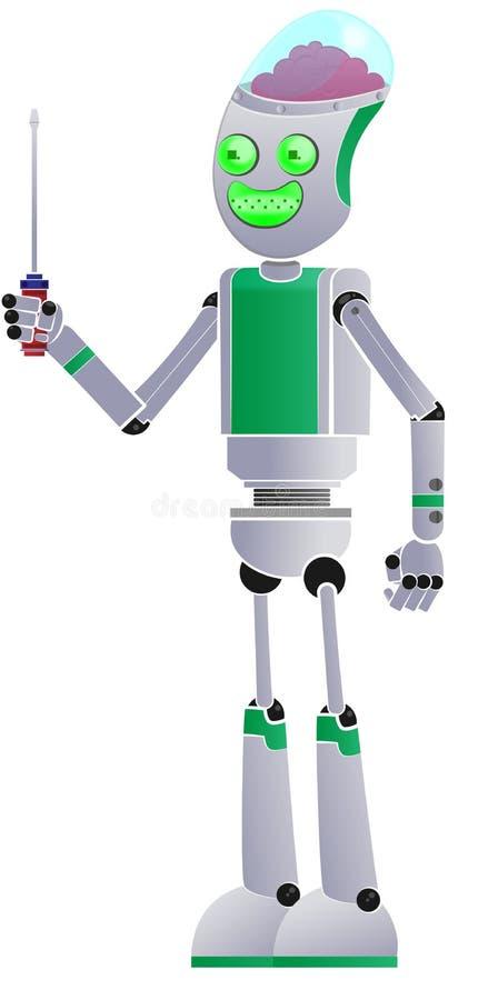 Robot med hjälpmedlet royaltyfri illustrationer