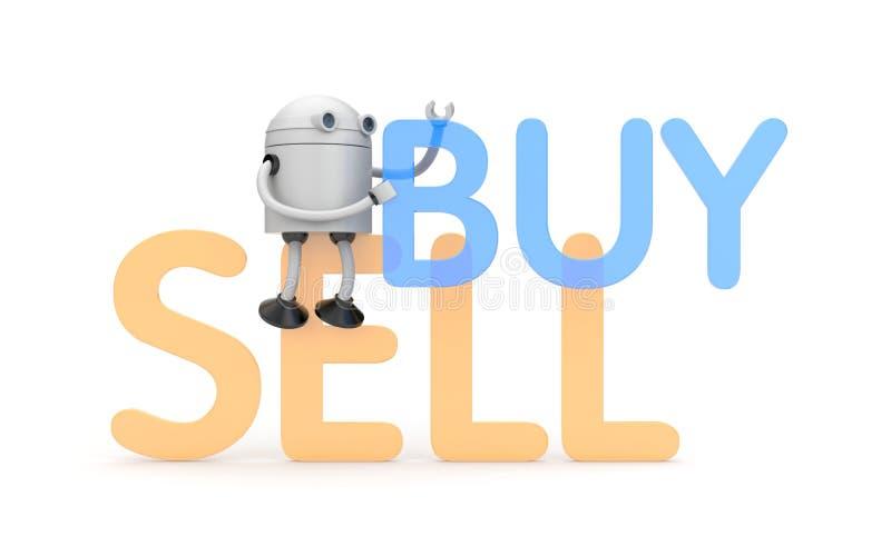 Robot med köp- och försäljningsord stock illustrationer