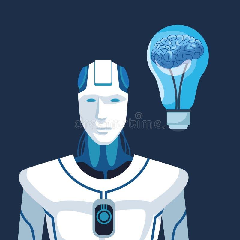 Robot med konstgjord intelligens vektor illustrationer