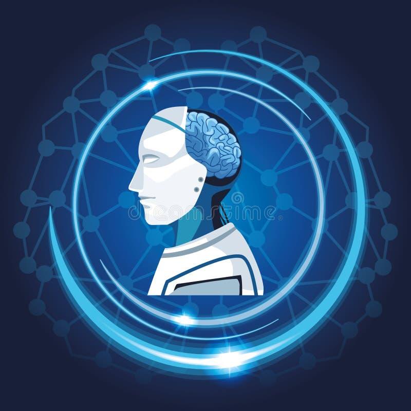 Robot med konstgjord intelligens stock illustrationer