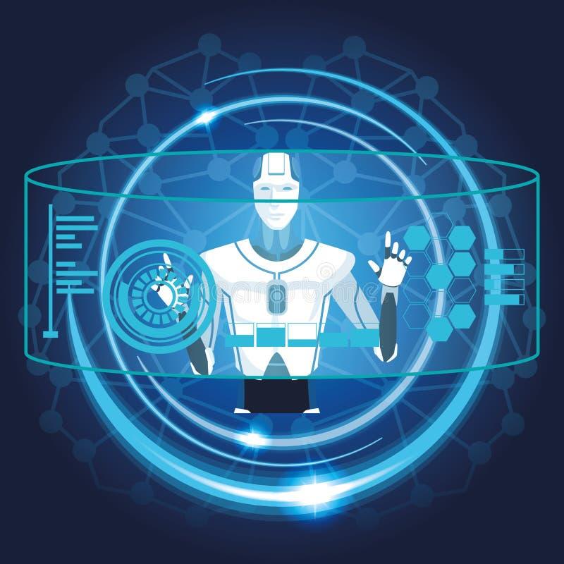 Robot med konstgjord intelligens royaltyfri illustrationer