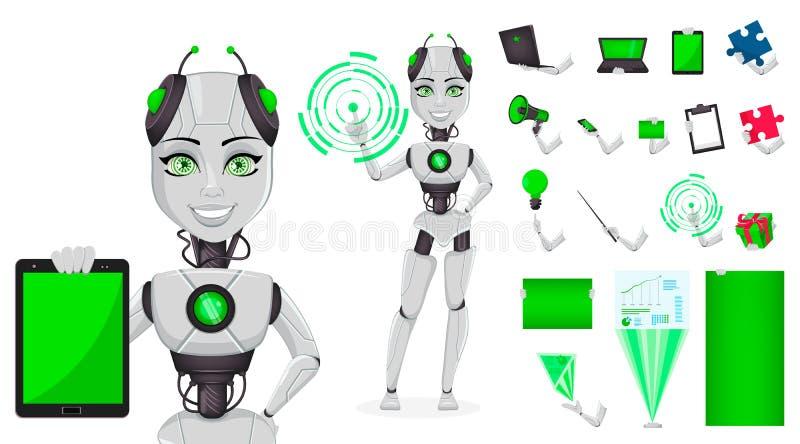 Robot med konstgjord intelligens, kvinnlig bot stock illustrationer