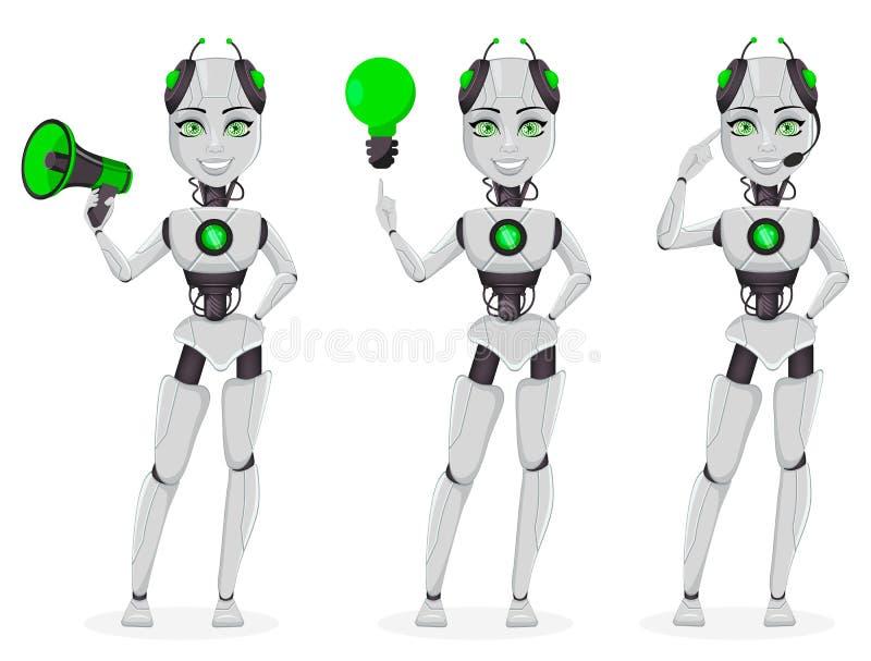 Robot med konstgjord intelligens, kvinnlig bot royaltyfri illustrationer