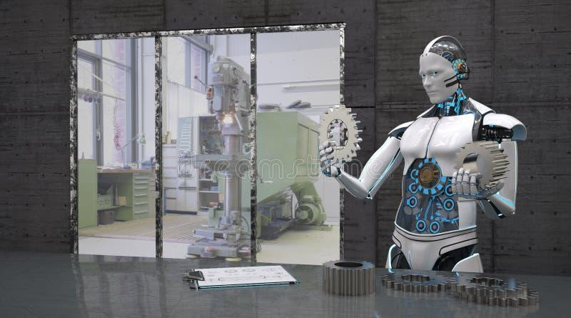 Robot med kugghjulhjul royaltyfri illustrationer
