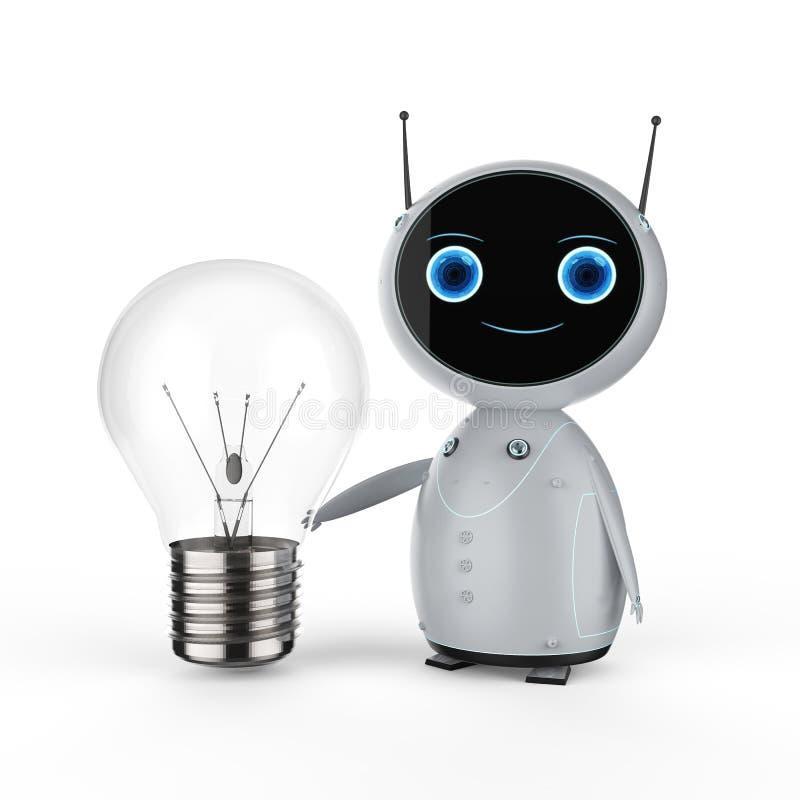 Robot med lightbulben royaltyfri illustrationer
