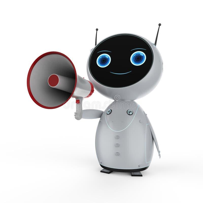 Robot med megafonen royaltyfri illustrationer