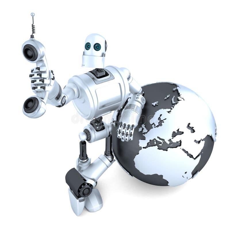 Robot med minnestavlatelefonröret och jordjordklotet det globala kommunikationsbegreppsgallerit mer mitt ser isolerat Snabb bana stock illustrationer