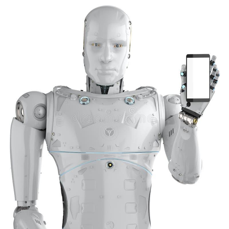 Robot med mobiltelefonen stock illustrationer