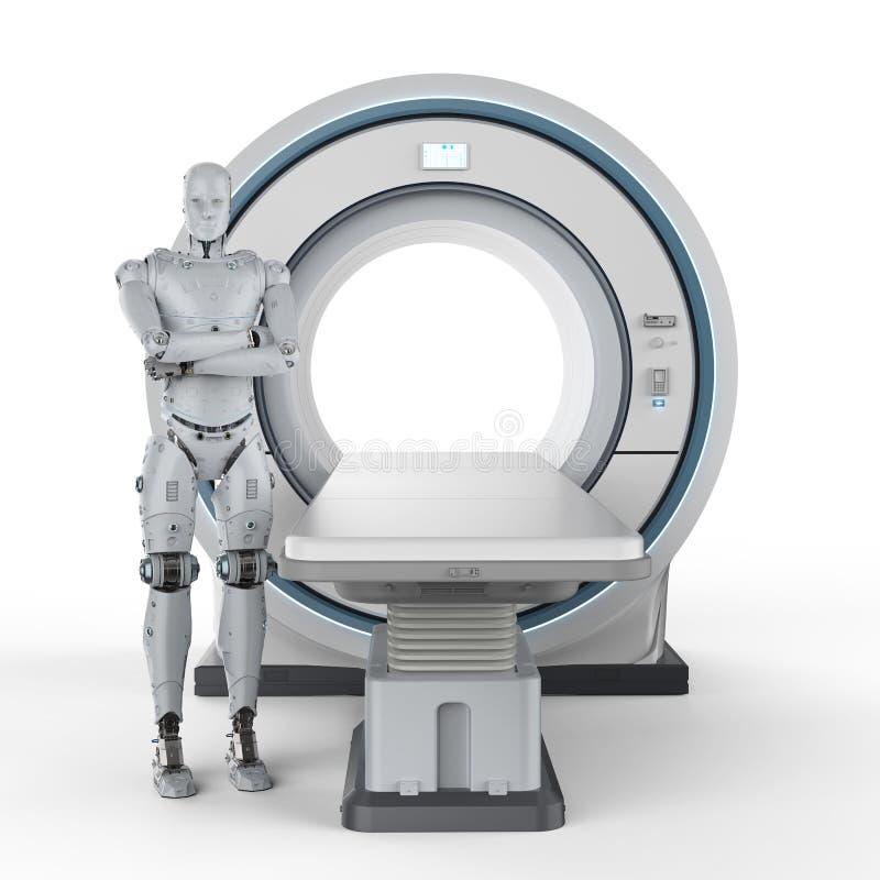 Robot med mribildläsning royaltyfri illustrationer