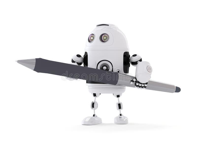 Robot med pennan royaltyfri illustrationer