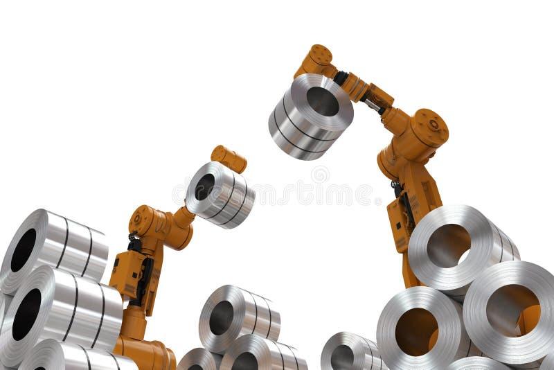 Robot med rullstål royaltyfri illustrationer