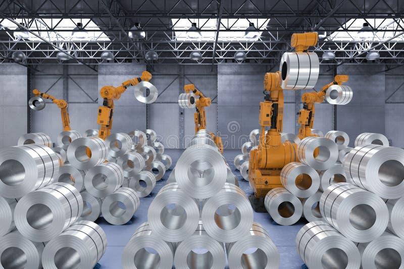 Robot med rullstål stock illustrationer