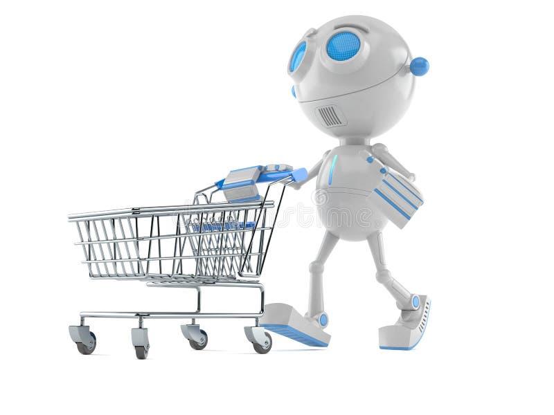Robot med shoppingvagnen royaltyfri illustrationer