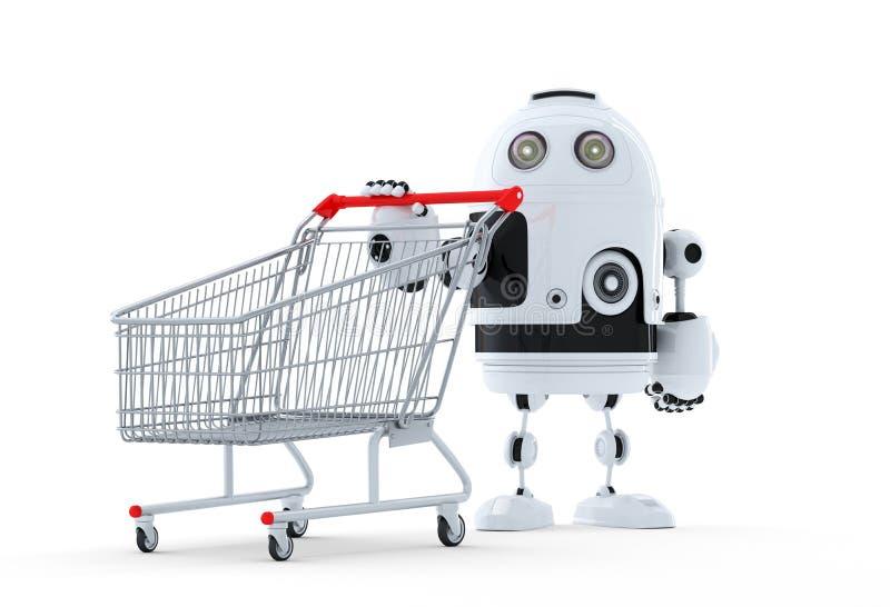 Robot med shoppingvagnen. stock illustrationer