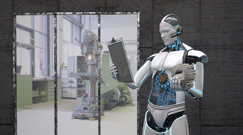 Robot med skrivplattan stock illustrationer