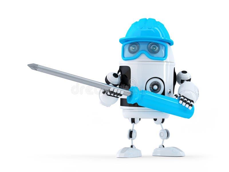 Robot med skruvmejsel. royaltyfri illustrationer