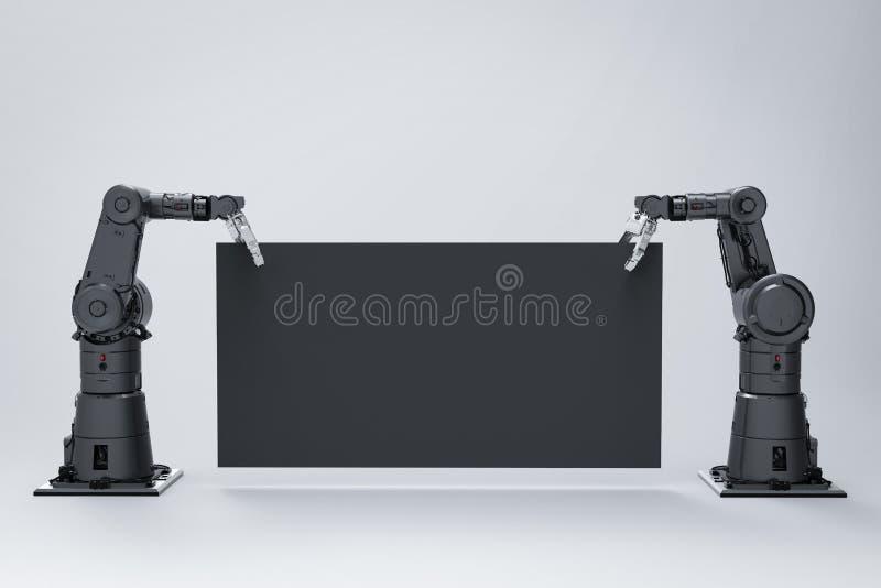 Robot med tomt papper vektor illustrationer