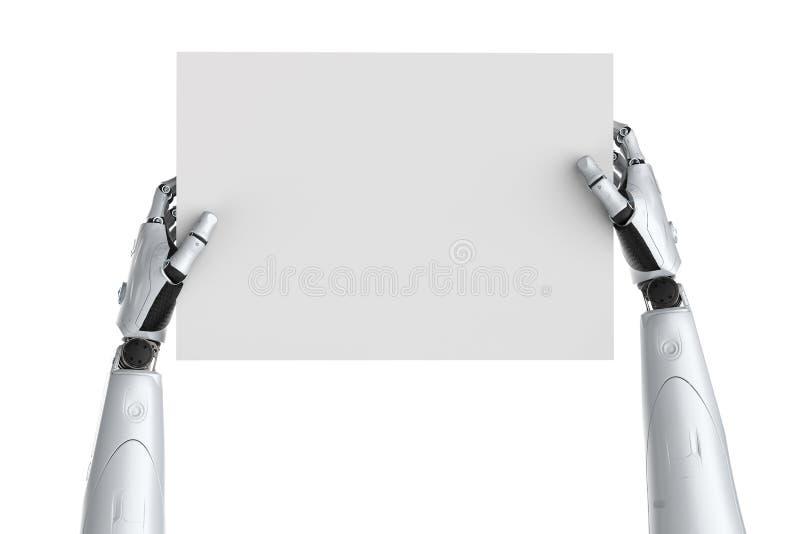 Robot med tomt papper stock illustrationer