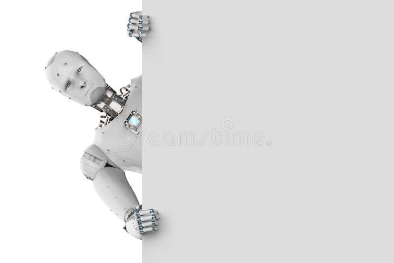 Robot med vitt tomt papper stock illustrationer