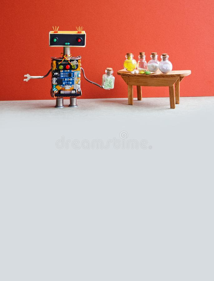 Robot medic pharmacist testing modern pills in glass bottles. Creative design laboratory interior. Red wall, gray floor stock images