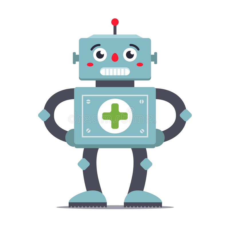 Robot medic on a white background. futuristic hospital. royalty free illustration