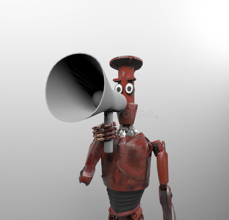 Robot with megaphone,3d render royalty free illustration