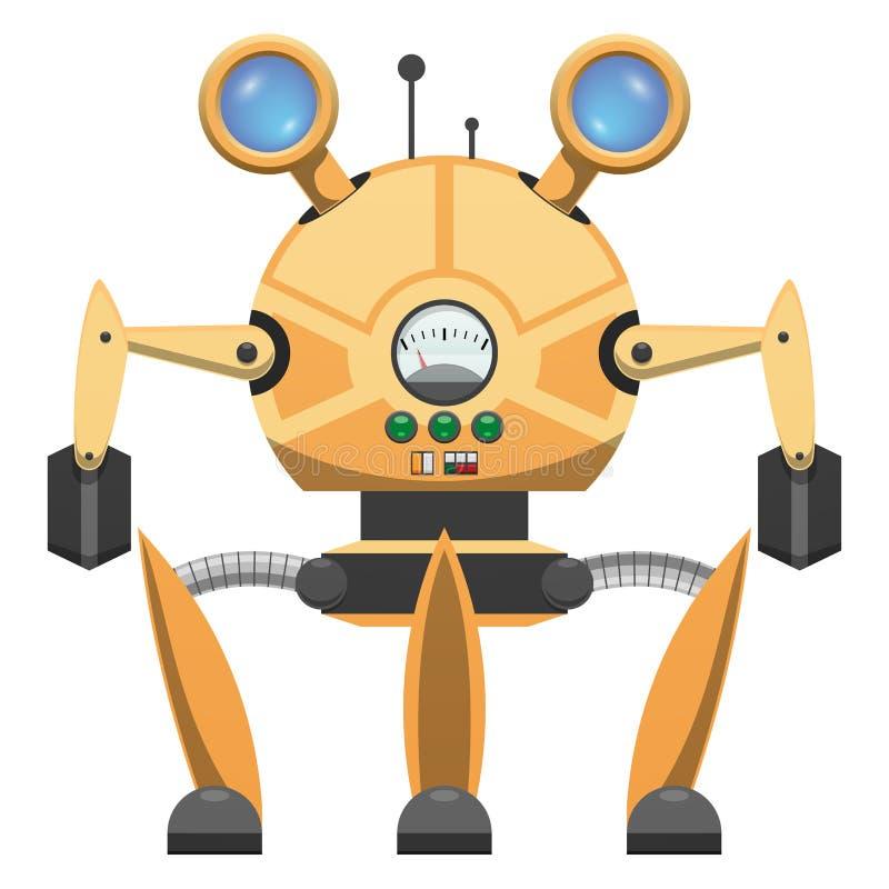 Robot metálico amarillo con el icono dibujado tres piernas stock de ilustración