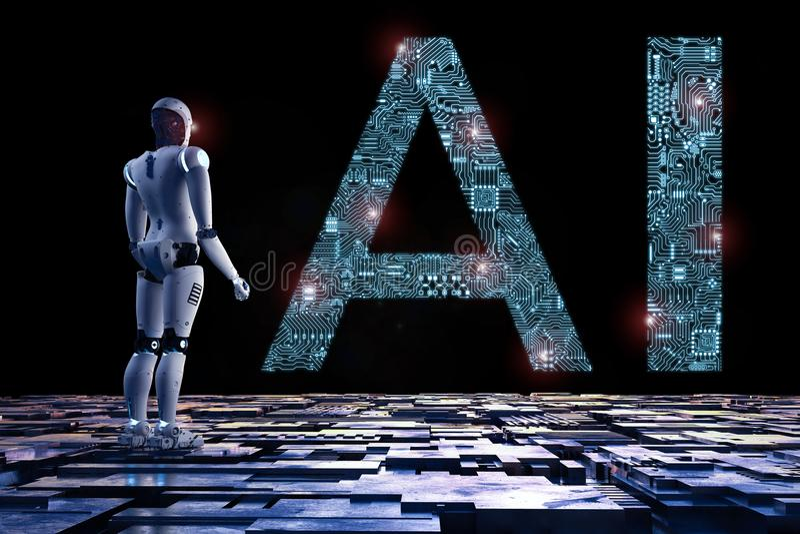 Robot met ai stock illustratie