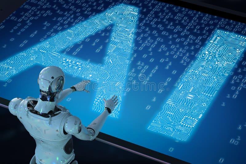 Robot met ai royalty-vrije illustratie