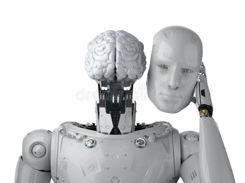 Robot met ai hersenen stock illustratie