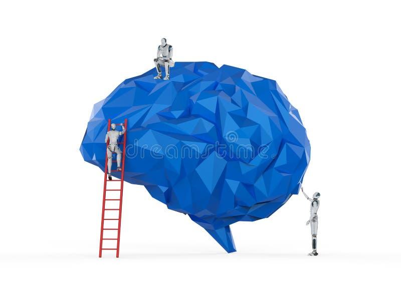 Robot met ai hersenen vector illustratie