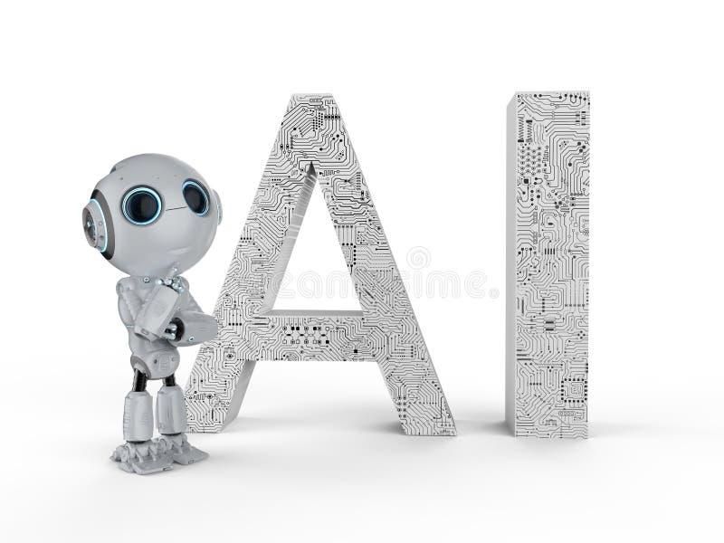Robot met ai tekst royalty-vrije illustratie