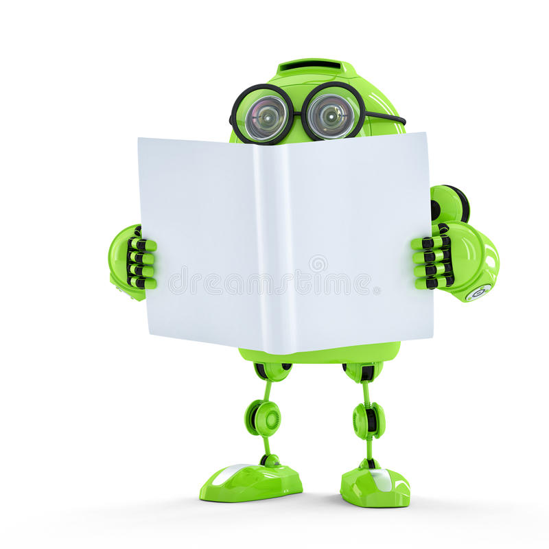 Robot met boek. royalty-vrije illustratie