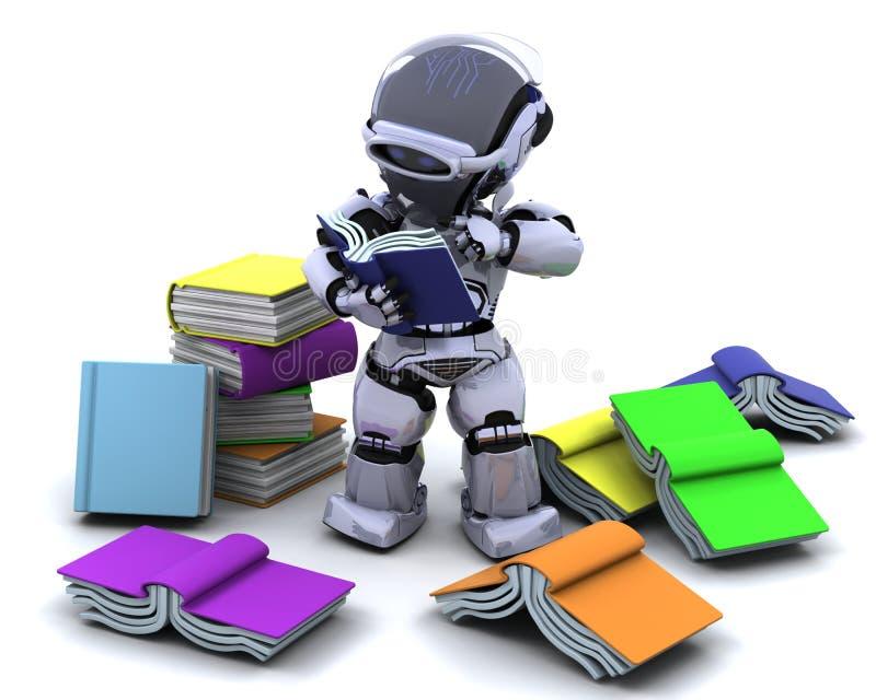 Robot met boeken stock illustratie