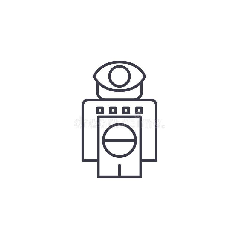 Robot met concept van het sensoren het lineaire pictogram Robot met het vectorteken van de sensorenlijn, symbool, illustratie vector illustratie
