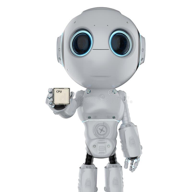 Robot met cpu-spaander royalty-vrije illustratie