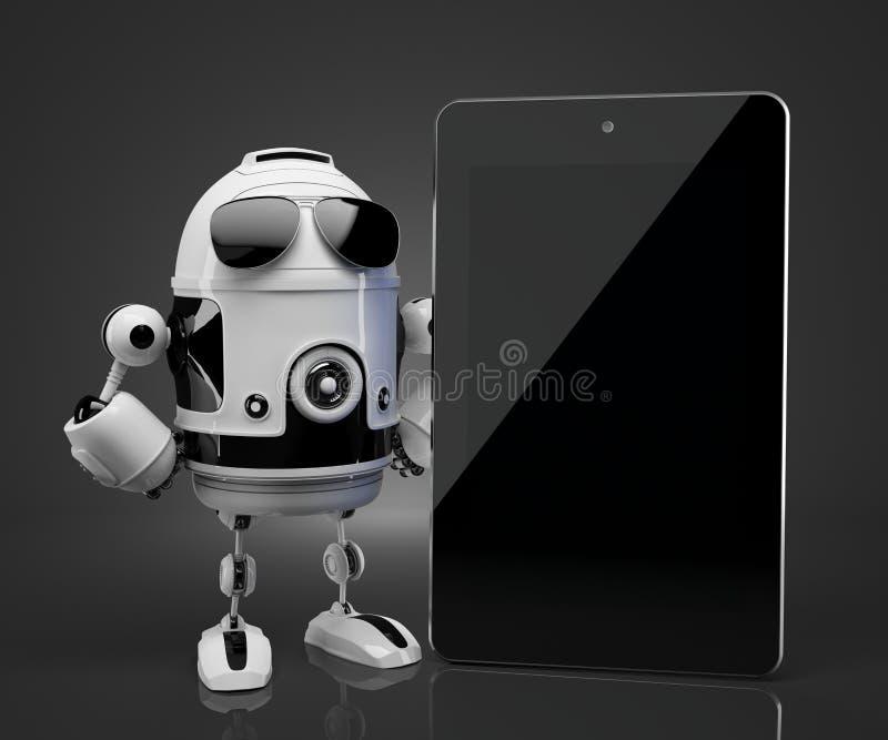 Robot met de lege computer van de het schermtablet Bevat het knippen weg van het tabletscherm vector illustratie