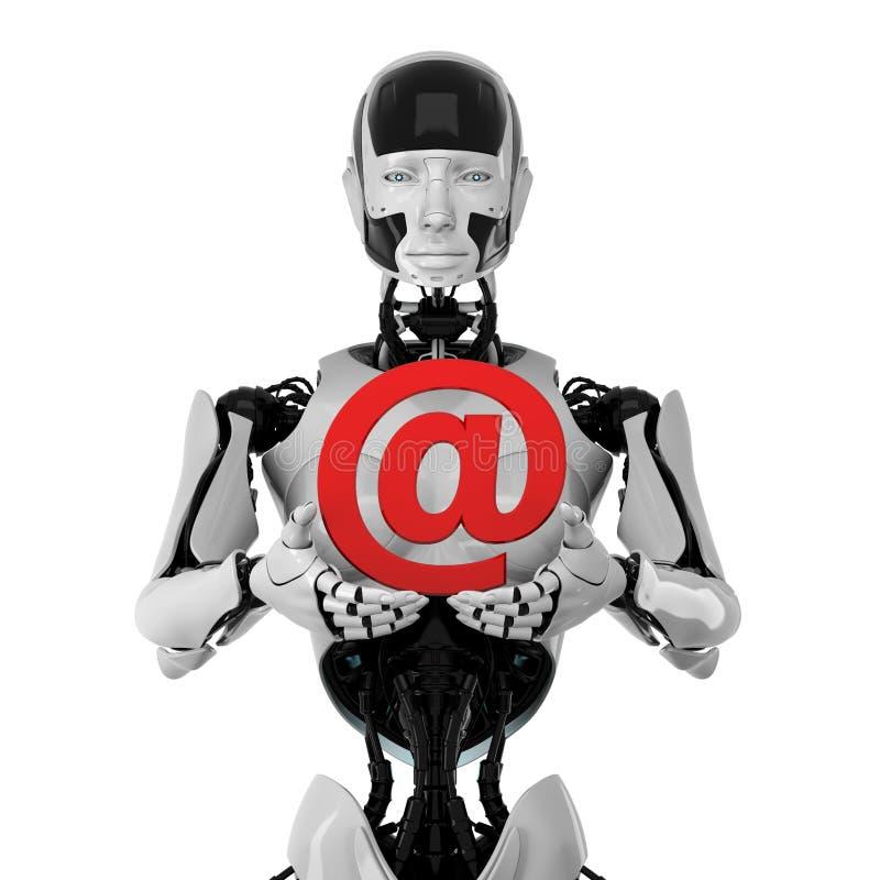 Robot met e-mailsymbool vector illustratie